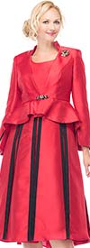 Moshita 7049-Red - Peplum Jacket & Pleated Skirt Set