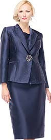 Moshita 7163-Navy Silky Twill Skirt Suit For Church