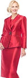 Moshita 7163-Red Silky Twill Skirt Suit For Church