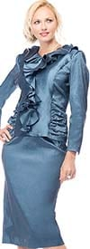 Moshita 7168 Stretch Taffeta Skirt Suit With Ruffled Top