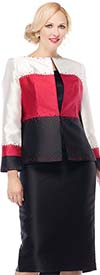 Moshita 7172 Womens Silky Twill Color Block Skirt Suit