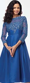 Moshita 7175 Ladies Silk Look Dress With Lace