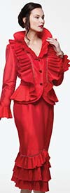 Moshita 7199-Red - Skirt Suit With Layered Ruffled Flounce