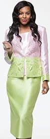 Moshita 7210 Womens Silky Twill Two Tone Embroidered Skirt Suit