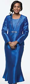 Moshita 7214-Royal - Womens Church Suit With Flared Skirt