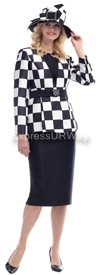 Moshita 6448 - Black / White Womens Church Suits