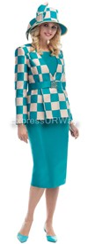Moshita 6448 - Jade / Champagne Womens Church Suits