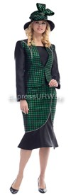 Moshita 6479 Emerald & Black Womens Church Suits