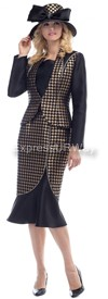 Moshita 6479 Gold & Black Womens Church Suits