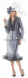 Moshita 6246 Womens Church Suits Silver