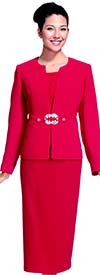 Nina Massini 2265 Womens Skirt Suit For Church With Ornate Leaf Buckle