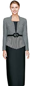Nina Massini 2444 Womens Three Piece Suit For Church With Striped Design