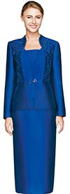 Nina Massini 2448 Womens Silky Twill Church Suit With Cut-out Embroidery