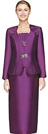 Nina Massini 2454 Womens Silky Twill Skirt Suit With Layered Shoulder Adornments