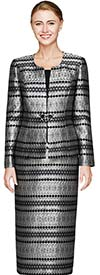 Nina Massini 2459 Womens Skirt Suit With Intricate Multifaceted Pattern