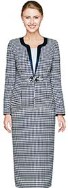 Nina Massini 2463 Skirt Suit For Church With Houndstooth Pattern
