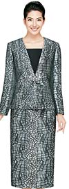 Nina Massini 2425 Womens Novelty Fabric Skirt Suit With Stone Pattern