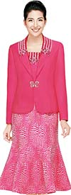 Nina Massini 2440 Ladies Flared Print Skirt Suit With Embellished Jacket