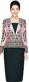 Nina Massini 2442 Womens Skirt Suit With Multi Print Jacket
