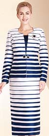 Nina Massini 2394 Ladies Skirt Suit With Multi Stripe Print