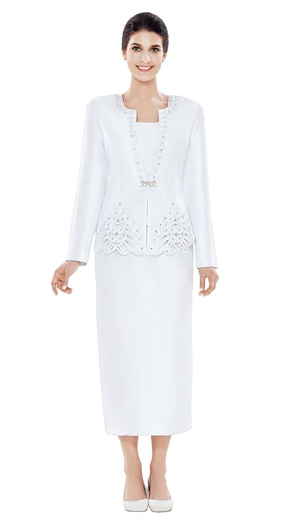 Nina Massini 2471 Womens Silky Twill Church Suit With Embellished Jacket