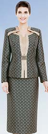 Nina Massini 2472 Womens Print Pattern Skirt Suit With Star Neckline
