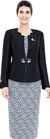 Nina Massini 2482 Womens Abstract Print Skirt Suit With Solid Jacket