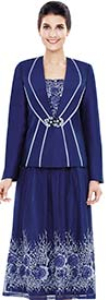 Nina Massini 2483 Womens Lace Silky Twill Skirt Suit With Floral Print