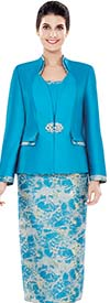 Nina Massini 2496 Womens Print Pattern Skirt Suit With Solid & Trimmed Jacket
