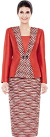 Nina Massini 2497 Womens Multi Directional Print Skirt Suit In Silky Twill Fabric