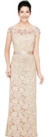 Nina Nischelle 2703 Lace Cap Sleeve Column Dress