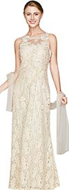 Nina Nischelle 2801 Sleeveless Lace & Mesh Dress With Scarf