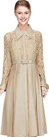 Nina Nischelle 2657 Womens Pleated Dress With Lace