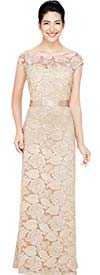 Nina Nischelle 2703 Womens Long Floral Lace Dress With Cap Sleeves