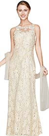 Nina Nischelle 2801 Long Sleeveless Lace Dress With Scarf