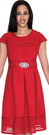 Nubiano Dresses DN4401-Red - Womens Cap Sleeve Dress