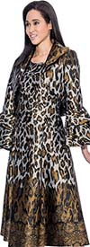 Nubiano Dresses DN3712 Animal Print Sleeveless Dress With Layered Bell Cuff Jacket