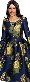 Nubiano Dresses DN3751-Navy - Pleated Dress With Classic Floral Print