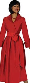 Nubiano Dresses DN5371-Red Pleated Wrap Dress With Belt