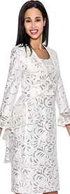 Nubiano Dresses DN4592-White / Silver Jacket Dress