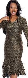Nubiano Dresses DN4802-Black / Gold Sequin Jacket Dress