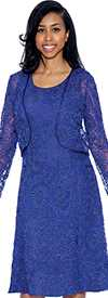 Nubiano Dresses DN5232-Royal - Womens Elaborate Lace Dress