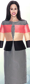 Nubiano Dresses DN3852 Womens Striped Dress With Color Block Jacket