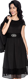Nubiano Dresses DN3922-Black Pleated Dress With Jacket