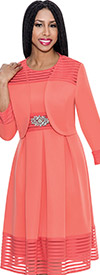 Nubiano Dresses DN3922-Coral Pleated Dress With Jacket