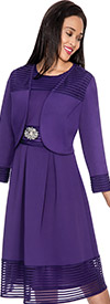 Nubiano Dresses DN3922-Purple Pleated Dress With Jacket