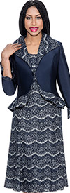 Nubiano Dresses DN4232-Navy Multi Print Dress With Wide Collar Peplum Jacket