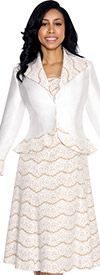Nubiano Dresses DN4232-White Multi Print Dress With Wide Collar Peplum Jacket