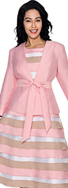Nubiano Dresses DN4522-Champagne Ladies Striped Layered Dress With Solid Jacket