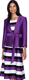 Nubiano Dresses DN4522-Purple Ladies Striped Layered Dress With Solid Jacket